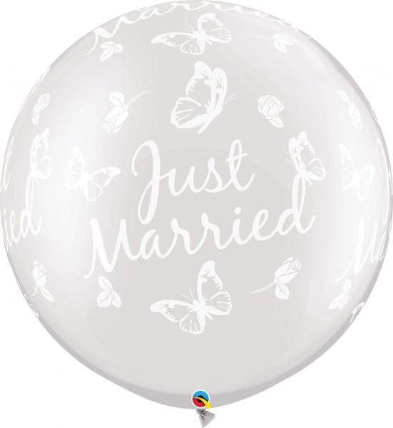 "Qualatex Latexballon Just Married Roses & Butterflies Pearl White 75cm/30"" 2 Stück"