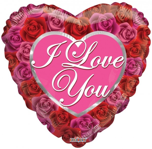 "Kaleidoscope Folienballon Love With Roses 45cm/18"""