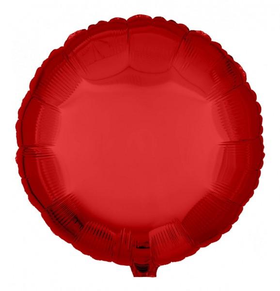 Folienballon Rund, Metallic Rot, 45cm Ø