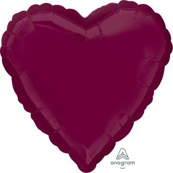 Anagram Folienballon Herz 45cm Durchmesser Weinrot (Berry)