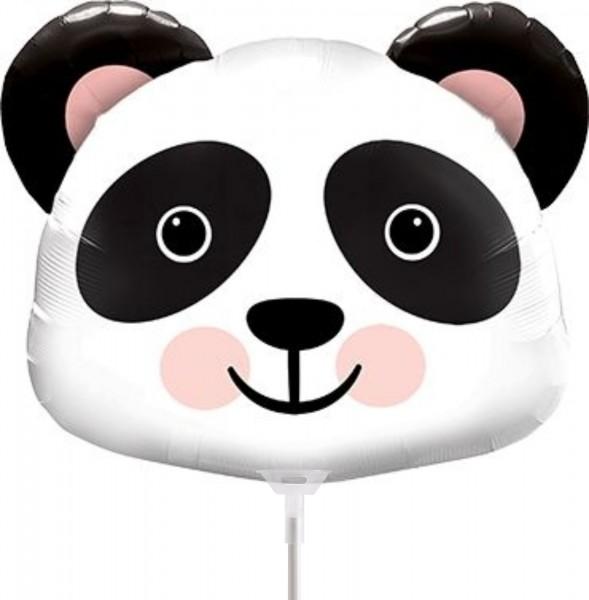 """Qualatex Folienballon Precious Panda 35cm/14"""" luftgefüllt mit Stab"""