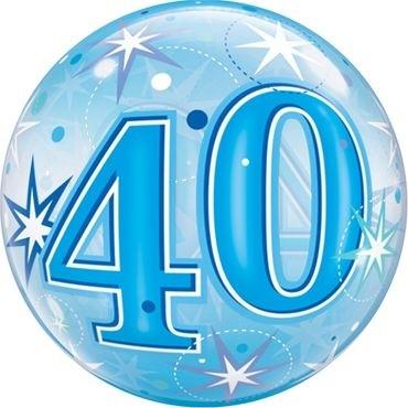"""Qualatex Bubbles 40 Blue Starburst Sparkle 55cm/22"""""""