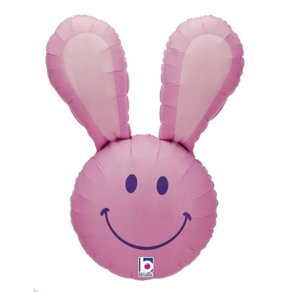 "Betallic Folienballon Smiley Bunny Pink 95cm/37"""