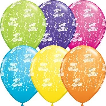 "Qualatex Latexballon Tropical Sortiment Happy Birthday 28cm/11"" 25 Stück"