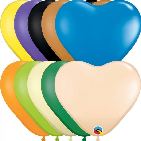 "Qualatex Latexballon Opaque Heart Assortment 15cm/6"" 100 Stück"