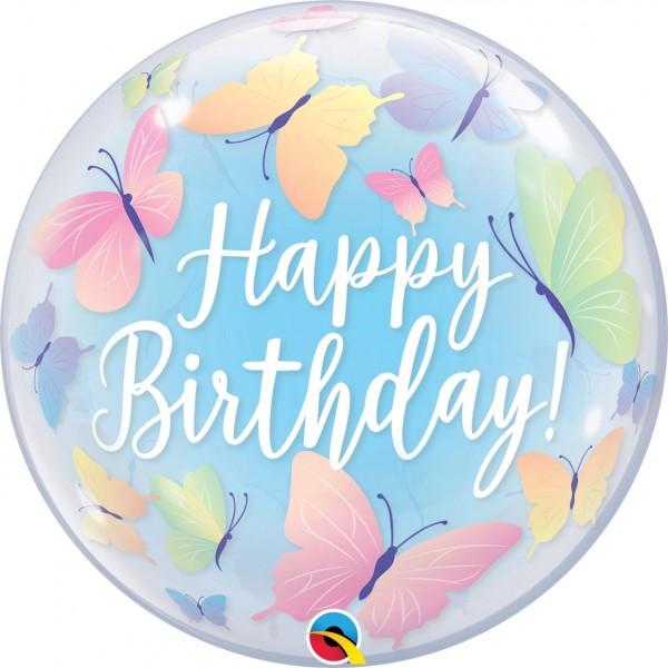"Qualatex Bubbles Birthday Soft Butterflies 55cm/22"""