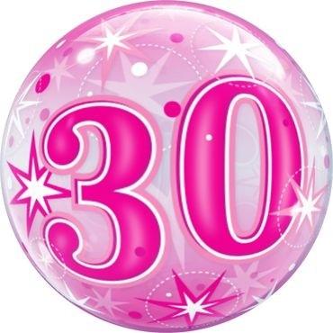 """Qualatex Bubbles 30 Pink Starburst Sparkle 55cm/22"""""""