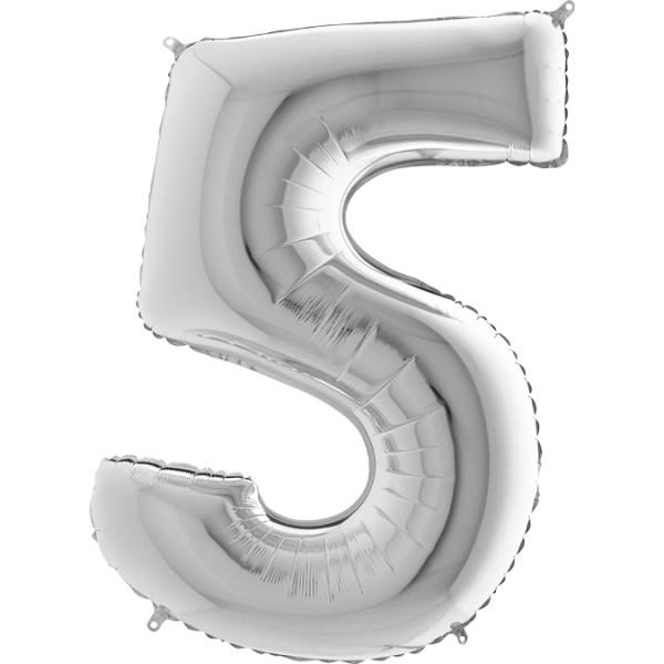 """Grabo Folienballon Zahl 5 Silver 100cm/40"""""""