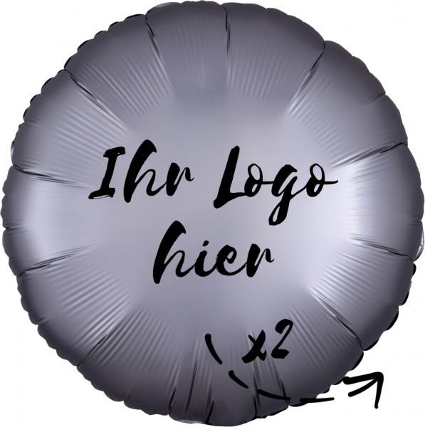 """Folien-Werbeballon Rund Satin Luxe Platinum 45cm/18"""" 2-Seitig bedruckt"""