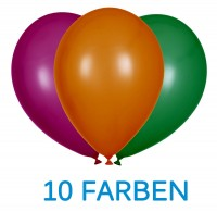 "Globos Luftballons Metallic 10 Farben Naturlatex 30cm/12"" 100er Packung"