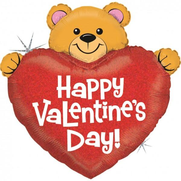 "Betallic Folienballon Big Heart Valentine Bear Holographic 94cm/37"""