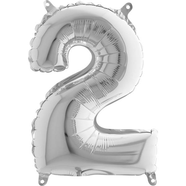"Grabo Folienballon Mini Silber 36cm/14"" Zahl 2"