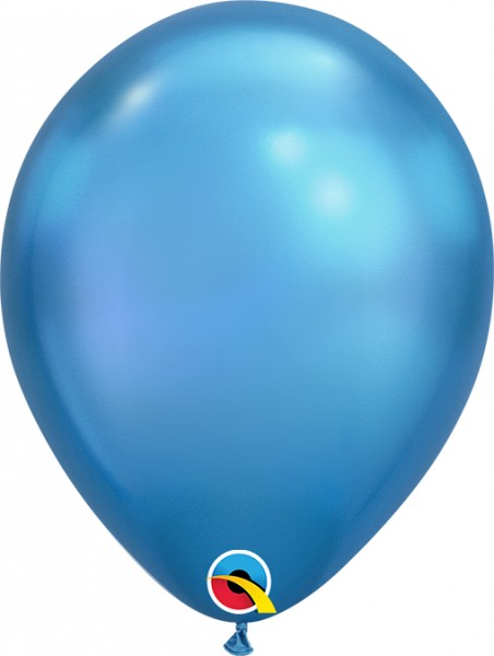 "Qualatex Latexballon Chrome Blue 18cm/7"" 100 Stück"