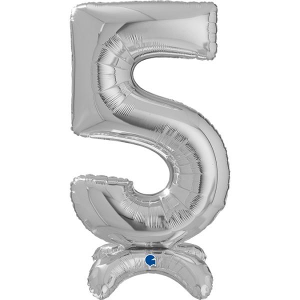 "Grabo Folienballon Zahl 5 Silver standups 65cm/25"""