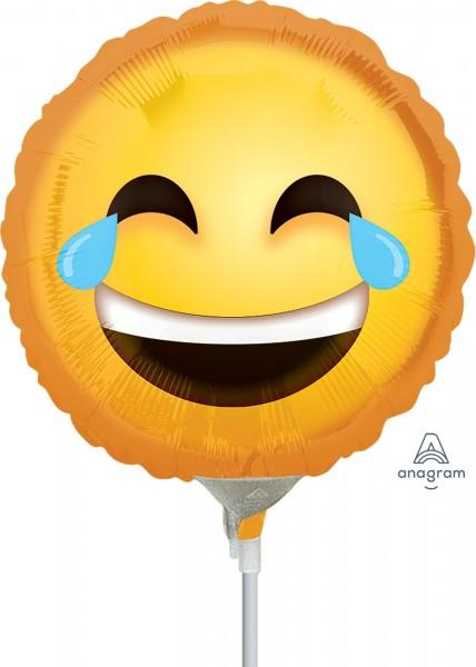 "Anagram Folienballon Laughing Emoticon 23cm/9"" luftgefüllt inkl. Stab"