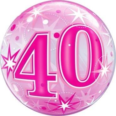 """Qualatex Bubbles 40 Pink Starburst Sparkle 55cm/22"""""""
