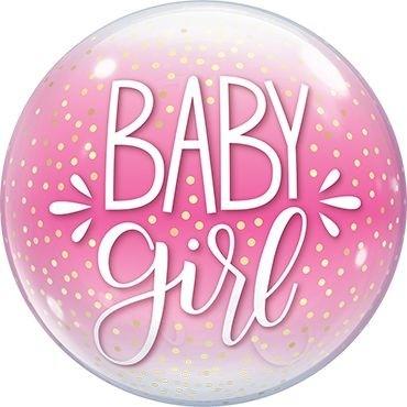 "Qualatex Bubbles Baby Girl Pink & Confetti Dots 55cm/22"""