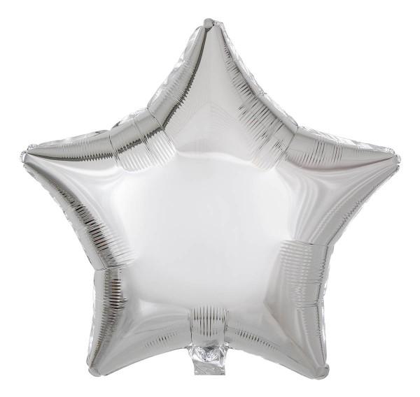 Folienballon Stern, Metallic Silber, 50cm Ø