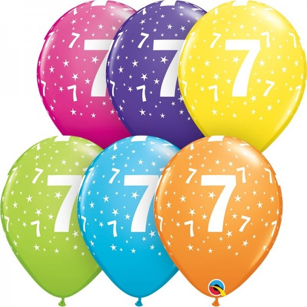 "Qualatex Latexballon Stars 7-A-Round Tropical Assortment 28cm/11"" 50 Stück"