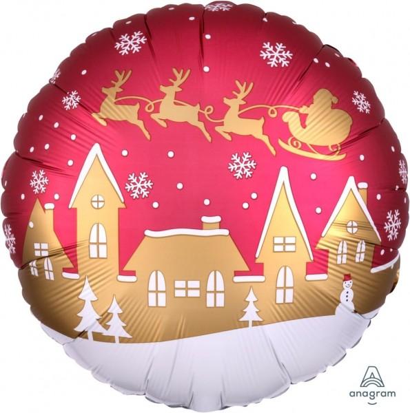 "Anagram Folienballon Rund Satin Santa Village 45cm/18"""