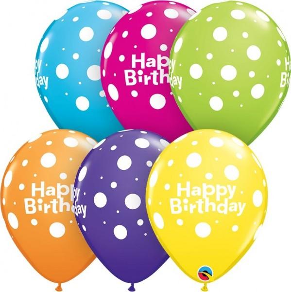 "Qualatex Latexballon Birthday Big Polka Dots Tropoical Assortment 28cm/11"" 25 Stück"