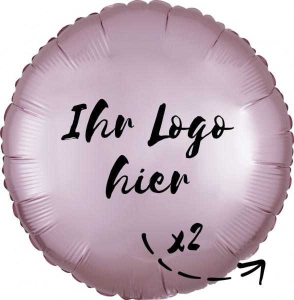 """Folien-Werbeballon Rund Satin Luxe Pastel Rose 45cm/18"""" 2-Seitig bedruckt"""