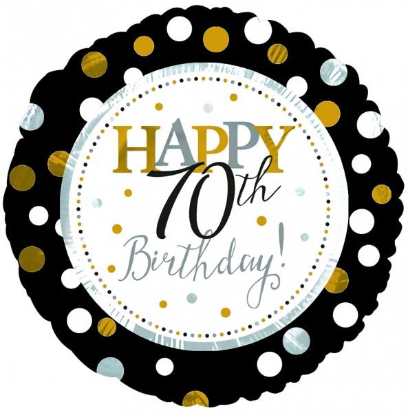 "CTI Folienballon 18"" Happy 70th Birthday Schwarz & Gold"