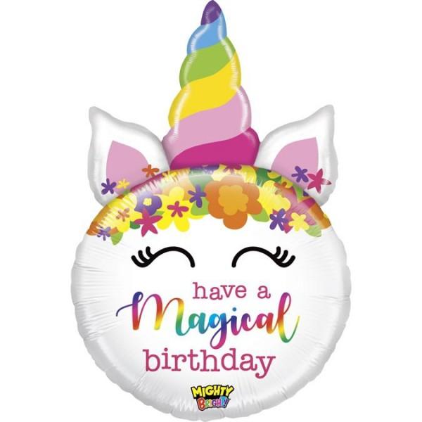 "Betallic Folienballon Mighty Birthday Unicorn 84cm/33"""