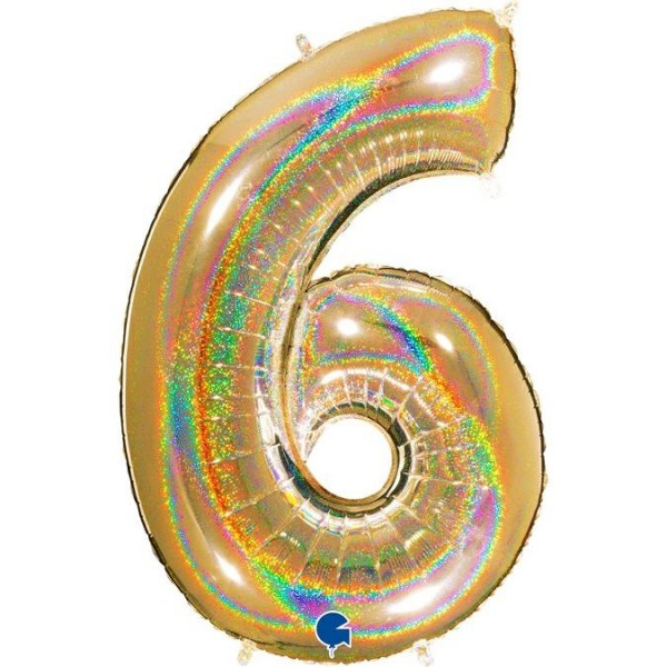 "Grabo Folienballon Zahl 6 Glitter Holographic Gold 100cm/40"""