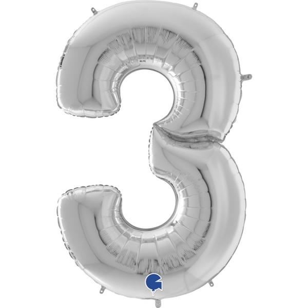 """Grabo Folienballon Zahl 3 Silver 160cm/64"""""""