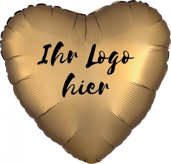 """Folien-Werbeballon Herz Satin Luxe Gold 45cm/18"""" 1-Seitig bedruckt"""