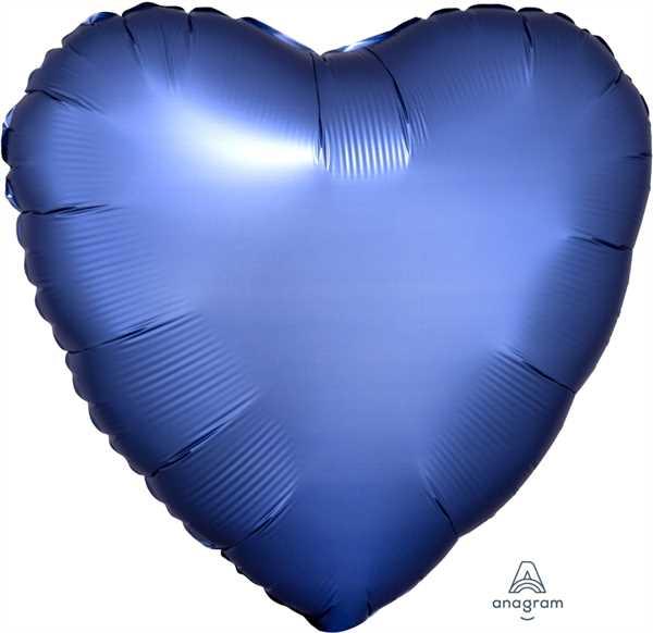 "Anagram Folienballon Herz Satin Azurblau 45cm/18"""