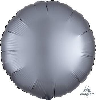 Anagram Folienballon Rund 45cm Durchmesser Satin Luxe Grau (Graphite)