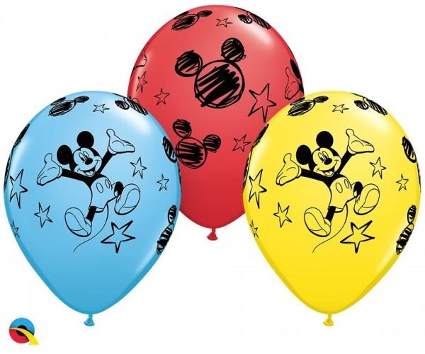 "Qualatex Latexballon Mickey Assortement 28cm/11"" 25 Stück"