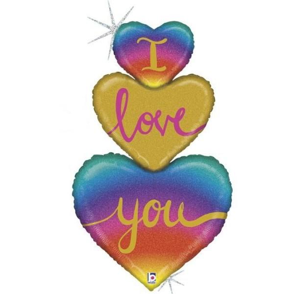 """Betallic Folienballon Rainbow Heart Love Trio 102cm/40"""""""