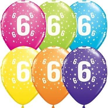 "Qualatex Latexballon Age 6 Retail Sortiment 28cm/11"" 6 Stück"