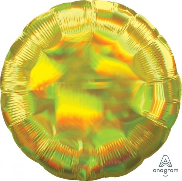 Anagram Folienballon Rund 45cm Durchmesser Iridescent Gelb (Yellow) Holo
