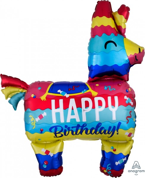 Anagram Folienballon 73cm Breite/83cm Hoch SuperShape Happy Birthday Pinata Bunt