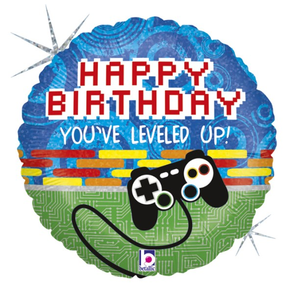 "Betallic Folienballon Happy Birthday Game Controller Holo 46cm/18"""