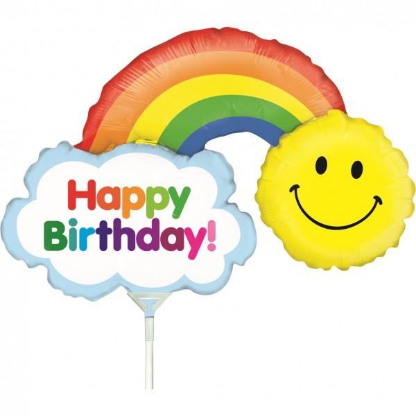 "Betallic Folienballon Mini Birthday Rainbow 35cm/14"" luftgefüllt inkl. Stab"