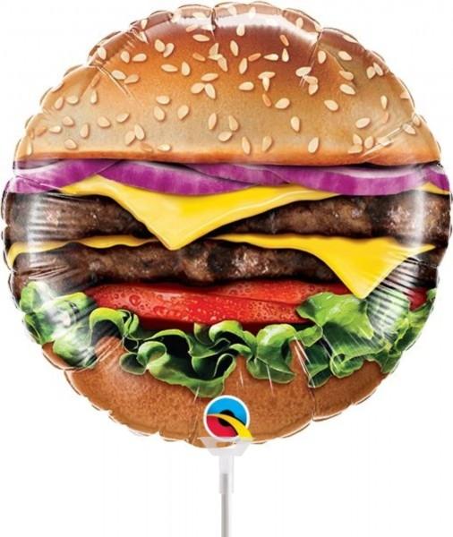 "Qualatex Folienballon Cheeseburger 23cm/9"" luftgefüllt inkl. Stab"