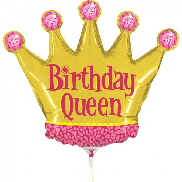 "Betallic Folienballon Birthday Queen Mini 35cm/14"" luftgefüllt inkl. Stab"