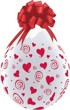 """Qualatex Verpackungsballon Swirling Red Hearts-A-Round Diamond Clear 45cm/18"""" 25 Stück"""