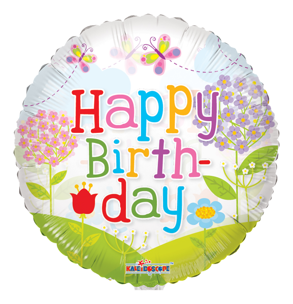 "Kaleidoscope Folienballon ""Happy Birthday - Blumenwiese"" 45cm/18"""