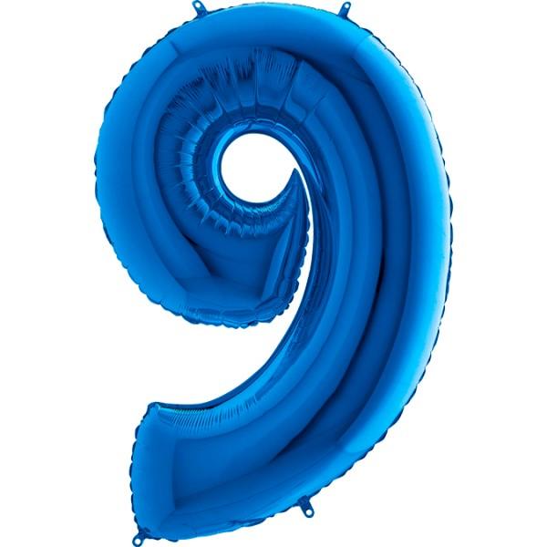 "Grabo Folienballon Zahl 9 Blue 100cm/40"""