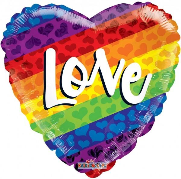 """Kaleidoscope Folienballon Rainbow Love Gellibean 45cm/18"""""""