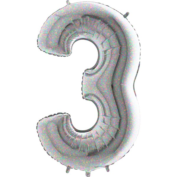 "Grabo Folienballon Zahl 3 Holographic 100cm/40"""