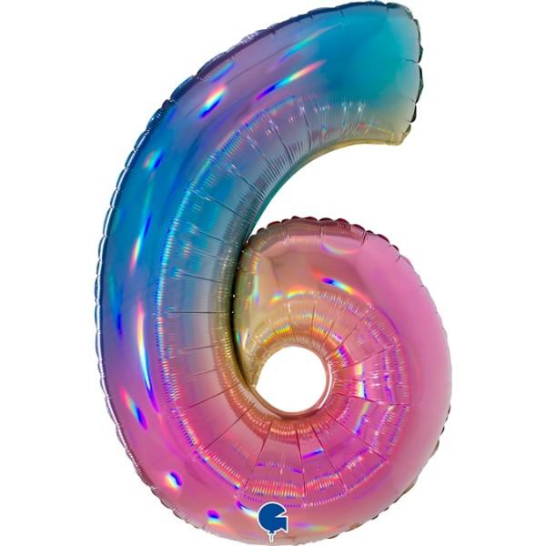 """Grabo Folienballon Zahl 6 Colourful Rainbow 100cm/40"""""""