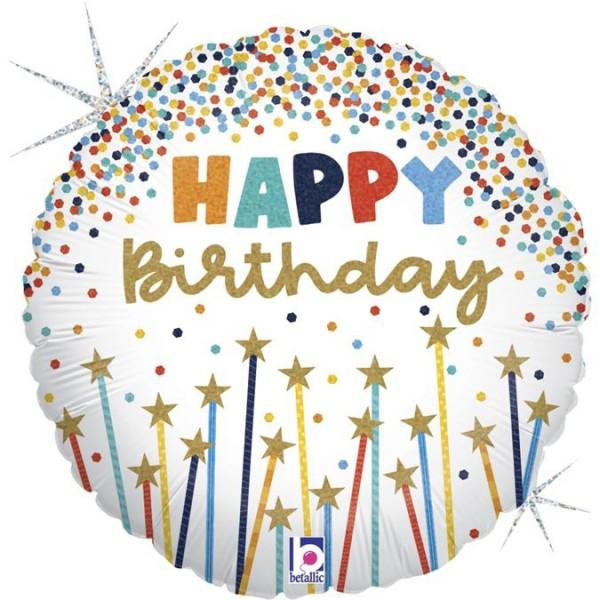 "Betallic Folienballon Birthday Star Candles 45cm/18"""