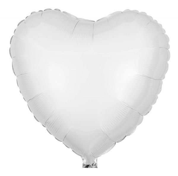 Folienballon Herz, Pearl Weiß, 45cm Ø